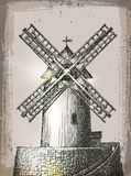 Windmill building in retro style. Hand Drawn Stock Photos