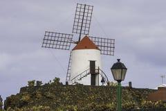 Windmill in Cactus Garden in Lanzarote Stock Photos