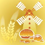 Windmill and cakes. Cartoon retro windmill and  cakes on a yellow background Royalty Free Stock Photography