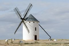 Windmill at Campo de Criptana, Ciudad Real, Spain. Medieval windmill on a hill overlooking the town of Campo de Criptana, Ciudad Real province, Castilla la Royalty Free Stock Images