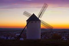 Windmill in Campo de Criptana in sunrise time Royalty Free Stock Photos