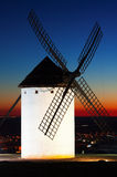 Windmill at Campo de Criptana in sunset Royalty Free Stock Images