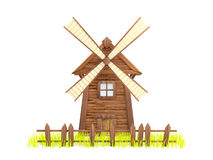 Windmill. Cartoon windmill with a sagging fence and grass. White background Royalty Free Stock Image
