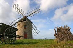 Windmill of Cherrueix. Old windmill in France (Near Mont-Saint-Michel Royalty Free Stock Photography