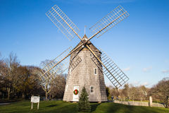 Windmill at Christmas time, East Hampton New York. The East Hampton town Windmill at Christmas time with bright blue autumn sky Stock Photo