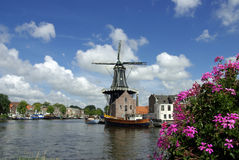 Windmill in the city of Haarlem, the Netherlands Stock Photo