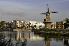 Windmill in the city of Rotterdam Netherlands stock images