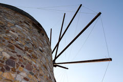 Windmill Close-up. Close-up photo of one of the famous Chios Windmills during sunset royalty free stock image