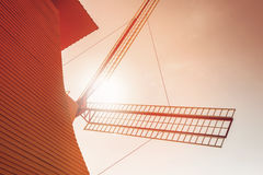 Windmill in close up view with sunlight Stock Photo