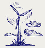 Windmill and clouds. Doodle style royalty free illustration
