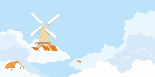 Windmill in the clouds. Abstract image of a windmill in the clouds Stock Image
