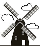 Windmill and clouds, vector. Background of black and white windmill and clouds, vector Royalty Free Stock Photos