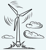 Windmill and clouds. Isolated on blue background vector illustration