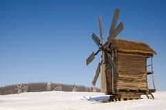 Windmill Cold Winter. Stock Photo