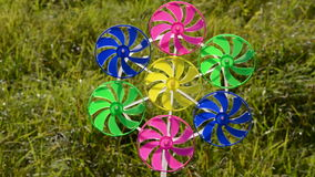 Windmill colorful toy and wind stock video footage