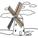 Windmill coloring page royalty free illustration