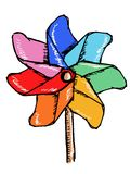 Windmill colours. Hand drawn, sketch, doodle illustration of windmill colours vector illustration