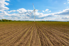 Windmill on the corn field Royalty Free Stock Image
