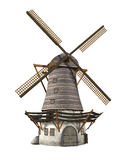 Windmill. 3D render of an old windmill isolated on white Stock Photos