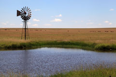 Windmill and dam. Stock Photography