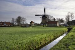Windmill De Hersteller chez Sintjohannesga photographie stock libre de droits