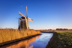 Windmill de Meervogel at winter afternoon Royalty Free Stock Photography