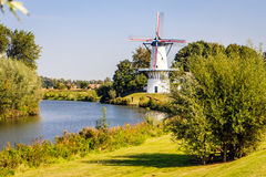 Windmill, Deil, Netherlands. Windmill `Butterfly` at the Linge near Deil, Gelderland, Netherlands Stock Image
