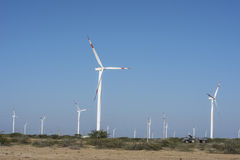 Windmill desert area with blue sky. India Royalty Free Stock Images