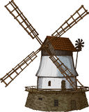 Windmill drawn in a woodcut like method. Old windmill drawn in a woodcut like method Stock Illustration