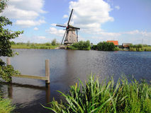 Windmill in Dutch landscape Royalty Free Stock Photography