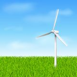Windmill eco. Windmill with grass and sky eco concept vector illustration template stock illustration