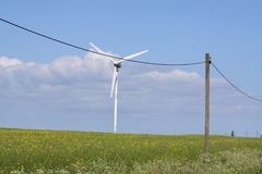 Windmill and electricity-pole in a rape-seed field stock photography
