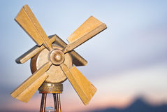 Windmill energy. Old wooden model of a windmill. concept of energy royalty free stock image