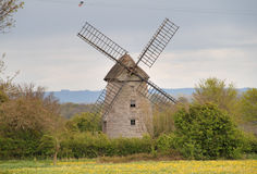 Windmill in an English Landscape. Isolated Windmill in an Rural Landscape in Somerset, England stock photos
