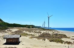 Windmill Farm Along the Coast stock photos