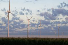 Windmill farm at dawn Royalty Free Stock Photography
