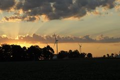Windmill farm at dawn 6 Stock Photography