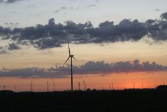 Windmill farm at dawn 9 Stock Photography