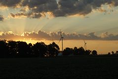 Windmill farm at dawn 13 Stock Photo