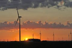 Windmill farm at dawn 15 Stock Photo