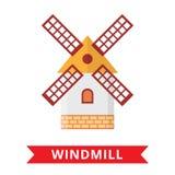 Windmill farm holland. On white background. Netherlands symbol. Wind turbine icon Stock Images