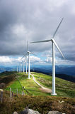Windmill farm in mountain Royalty Free Stock Photo