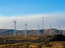 A Windmill Farm on a Mountain Royalty Free Stock Images