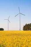 Windmill  farm in the rape field Royalty Free Stock Photo