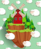 Windmill on the farmland and sheep background stock illustration