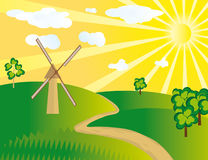The windmill in the field. Vector illustration Royalty Free Stock Photography