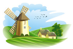 windmill in field Royalty Free Stock Photography