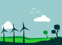 Windmill field. And environment vector illustration royalty free illustration