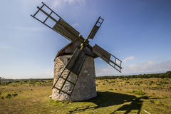 Windmill on Field in Gotland Stock Photography