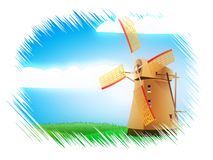 Windmill on field Stock Photos